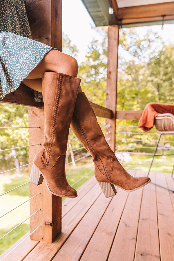 The Briella Faux Suede Knee High Boot In Brown