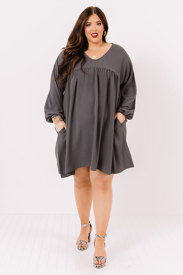 Charming Pose Babydoll Dress In Charcoal