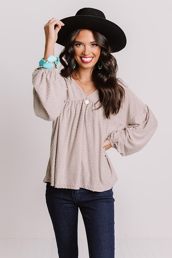 Grand Central Station Babydoll Top In Taupe
