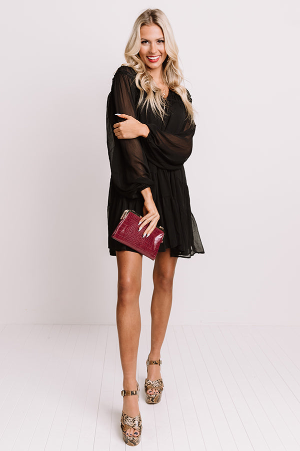 Writing Letters Shift Dress In Black