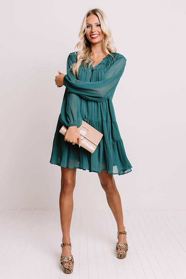 Writing Letters Shift Dress In Jade