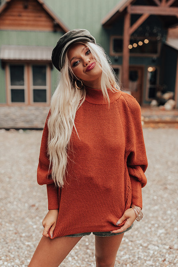 NYC Fall Knit Sweater In Rust