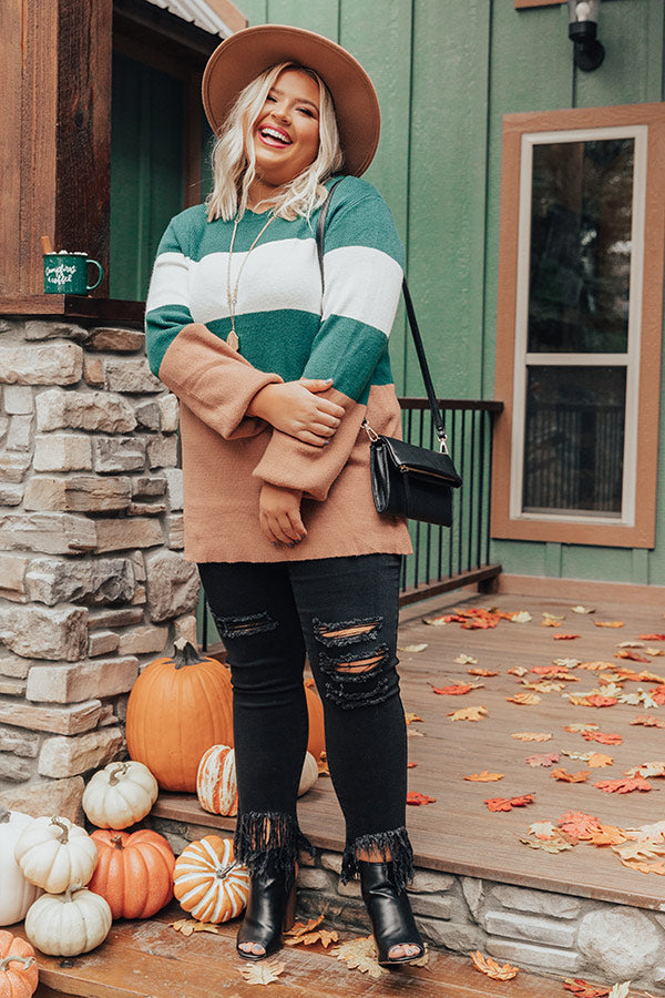 Maple Kisses Knit Sweater In Hunter Green