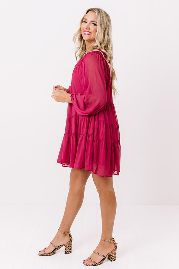 Writing Letters Shift Dress In Berry