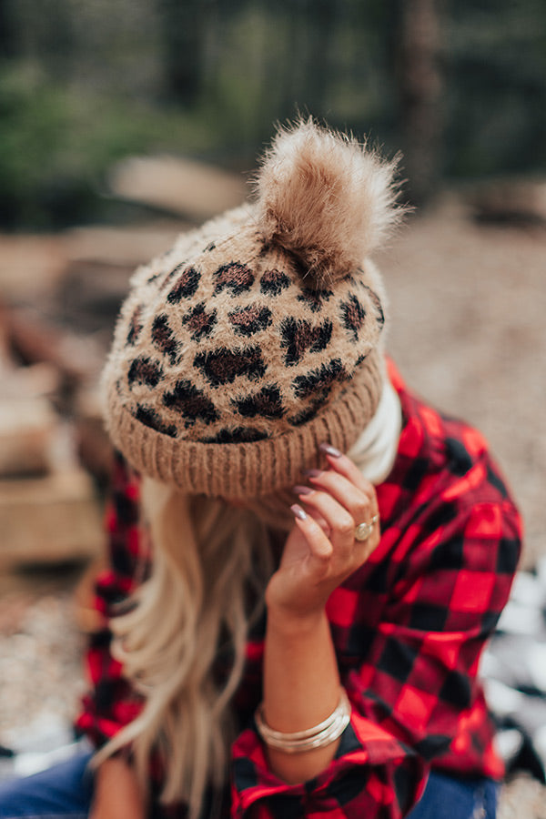 Cold Rush Faux Fur Pom Beanie In Camel