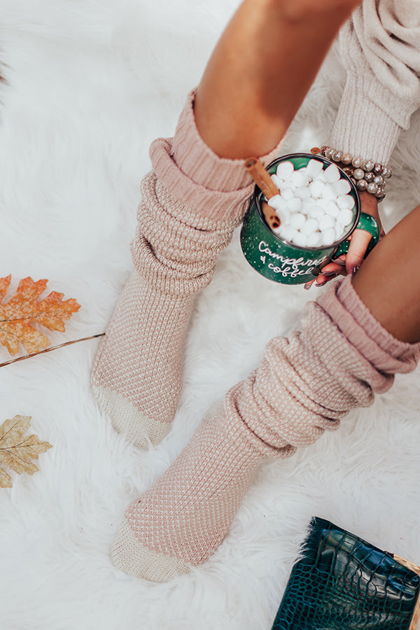 Cozy Surroundings Thigh High Socks In Blush