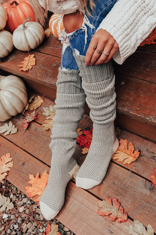 Cozy Surroundings Thigh High Socks In Pear