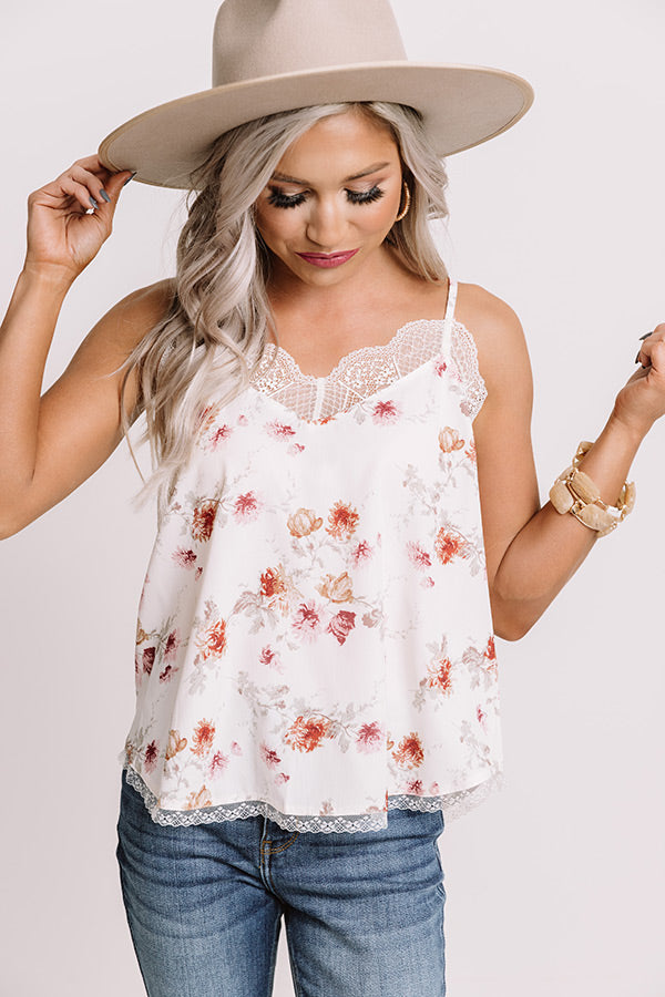 Clearly Chic Floral Tank In Ivory