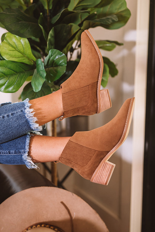 The Ada Faux Suede Bootie In Brown