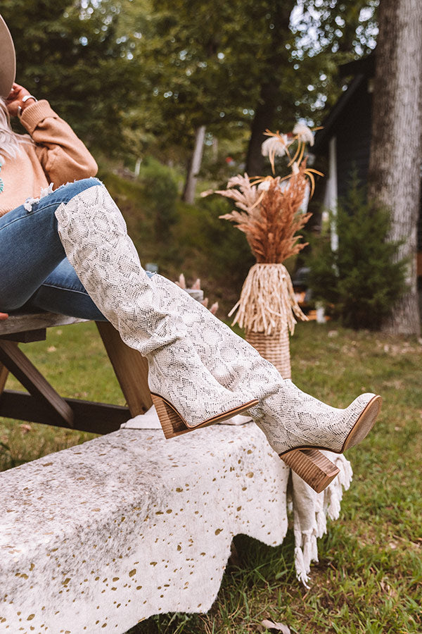 The Gracelynn Faux Leather Thigh High Boot In Cream