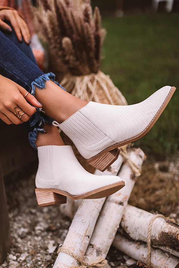 The Ada Faux Leather Bootie In Stone