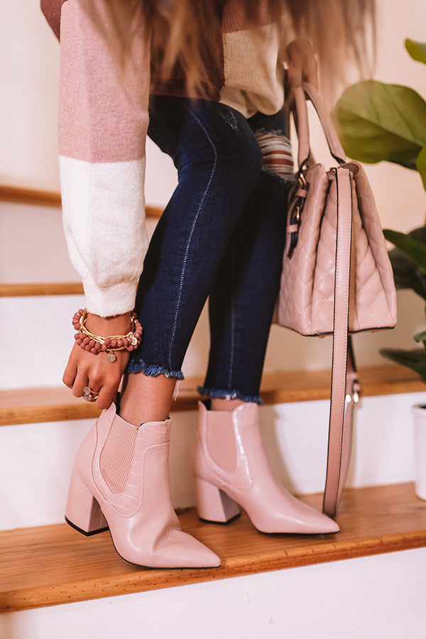 The Moira Faux Leather Bootie In Blush