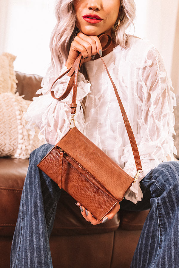 Up For Happy Hour Faux Leather Crossbody In Brown