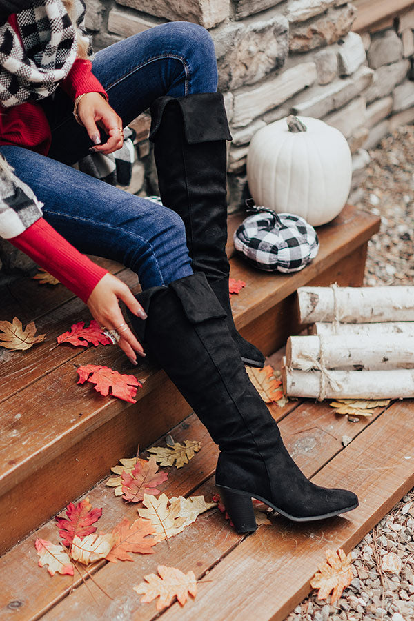 The Rosewood Thigh High Faux Suede Boot In Black