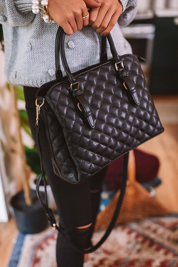 New York Fashion District Quilted Tote In Black