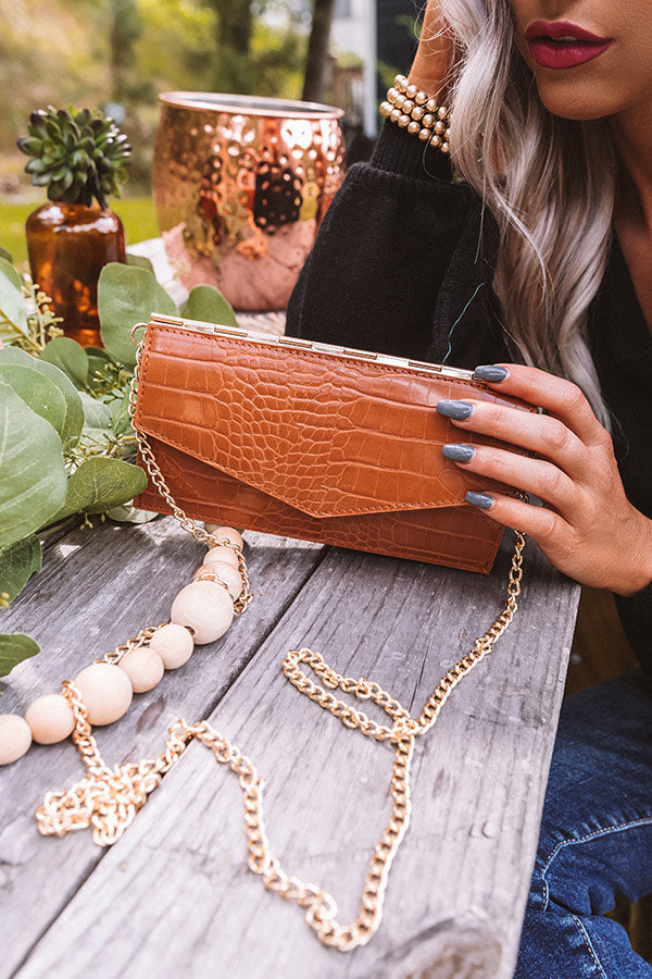 Lavish Life Faux Leather Clutch In Maple