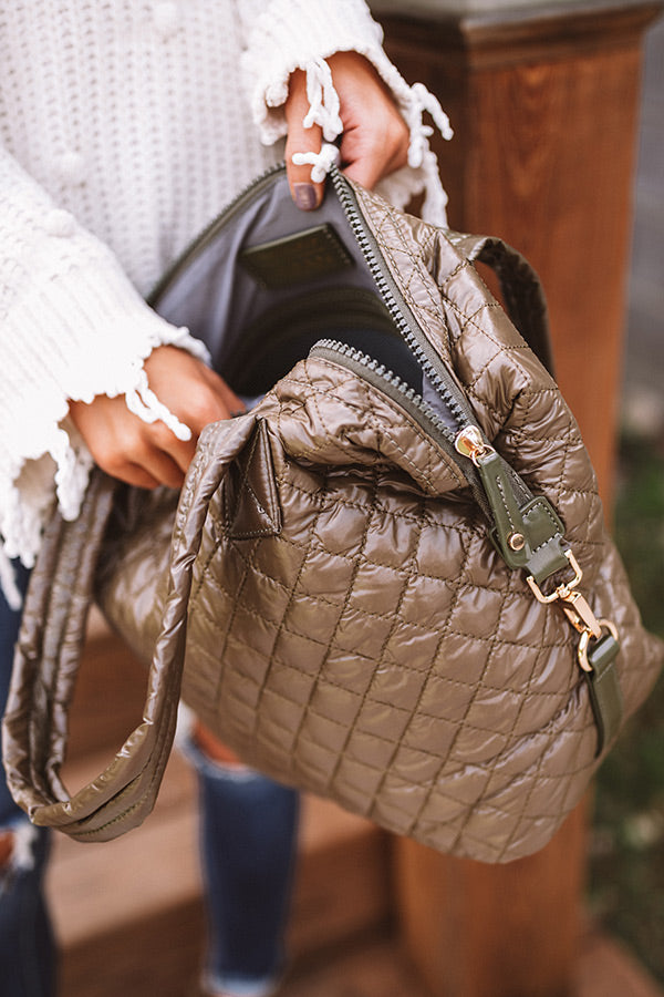 Off The Clock Large Quilted Tote In Martini Olive