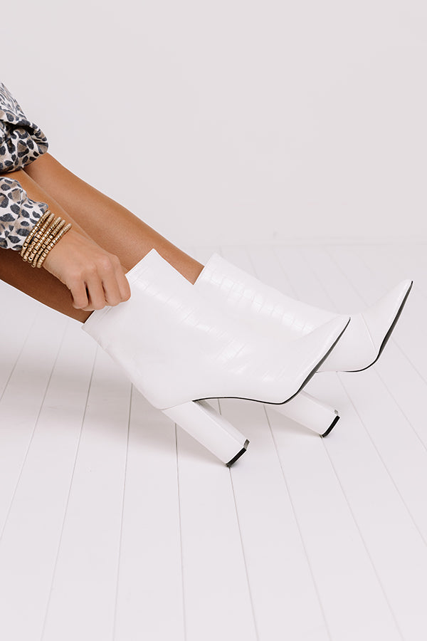 The Charlee Faux Leather Ankle Bootie In White