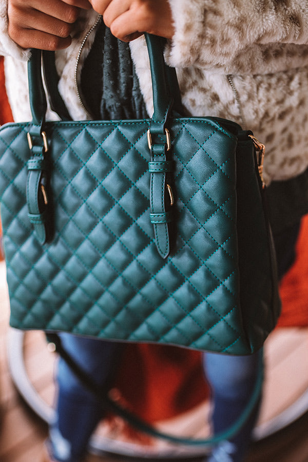 New York Fashion District Quilted Tote In Hunter Green