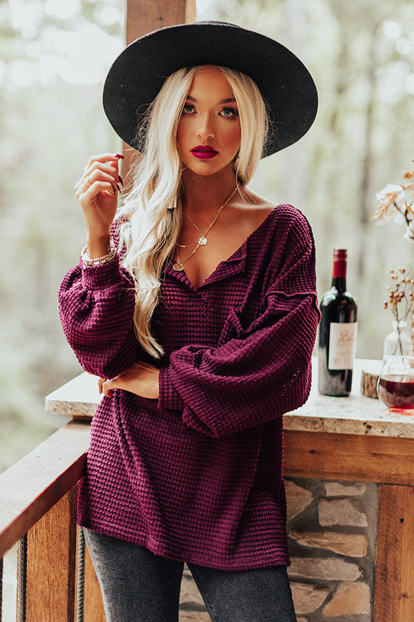 Forever Fall Waffle Knit Top in Windsor Wine