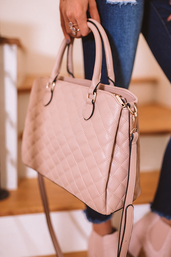 New York Fashion District Quilted Tote In Latte