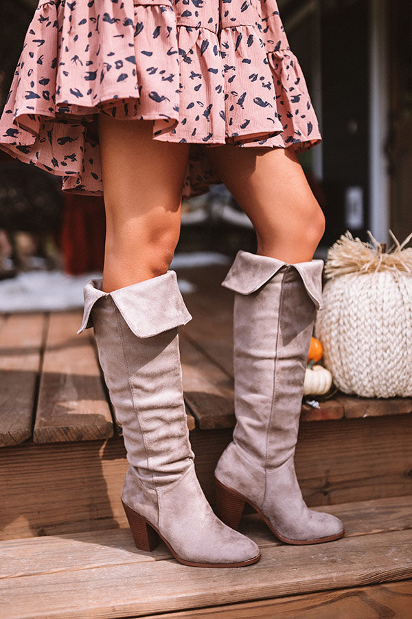 The Rosewood Thigh High Faux Suede Boot In Taupe