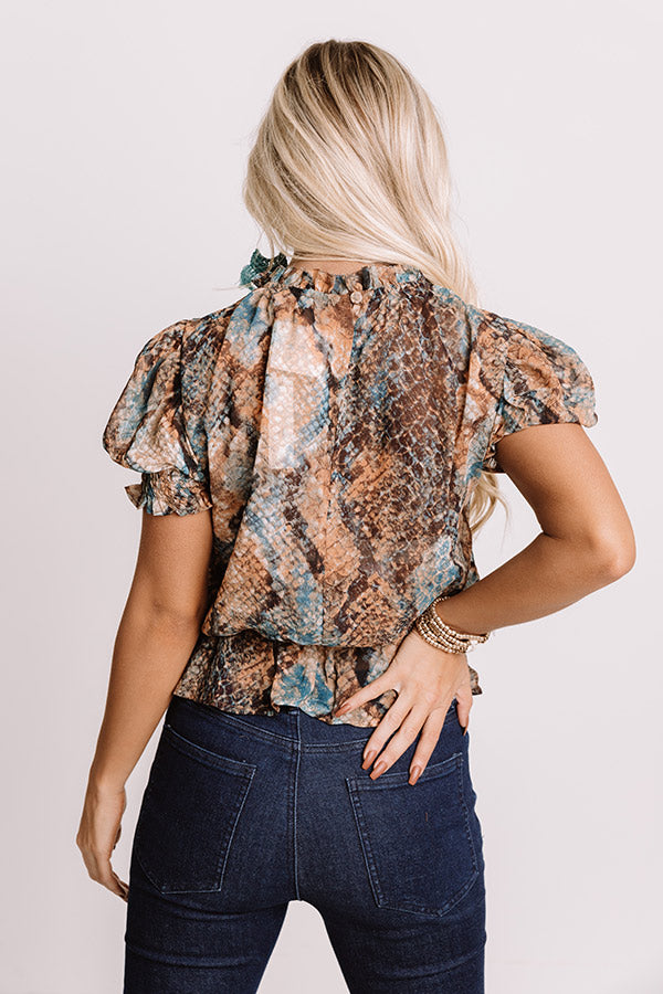 Attracting Positive Vibes Snake Print Top