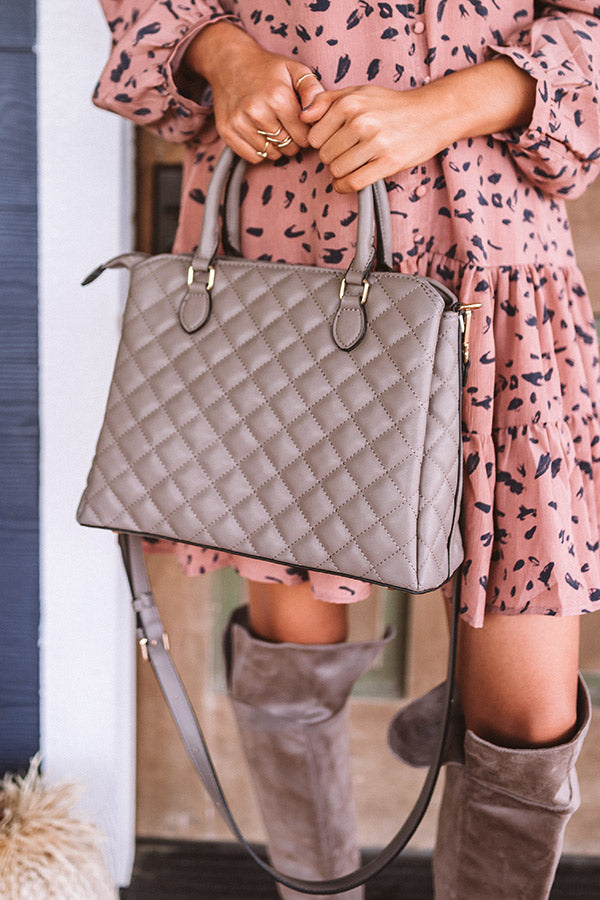 New York Fashion District Quilted Tote In Dark Taupe
