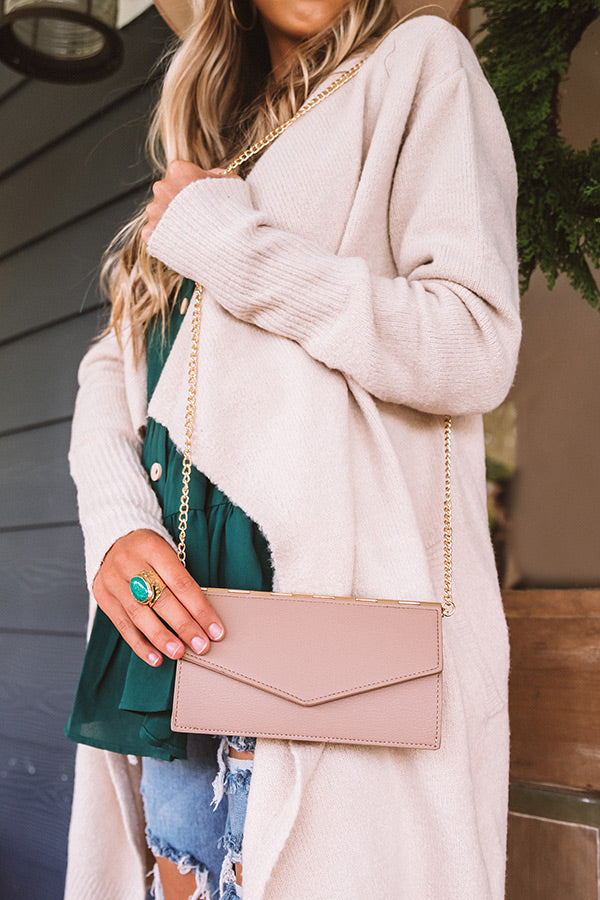 Lavish Life Faux Leather Clutch In Latte