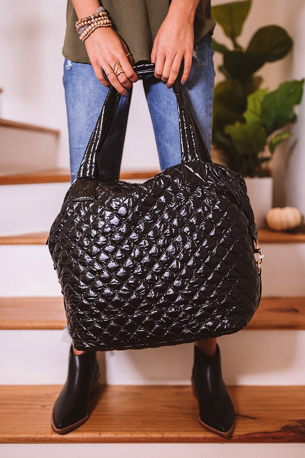 Off The Clock Large Quilted Tote In Black