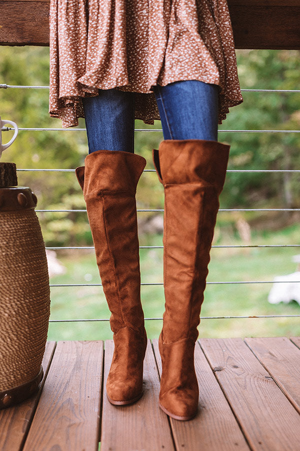 The Rosewood Thigh High Faux Suede Boot In Cinnamon