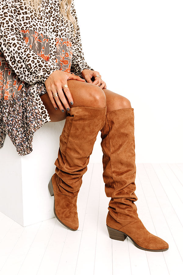 The Lonnie Thigh High Faux Suede Boot In Brown