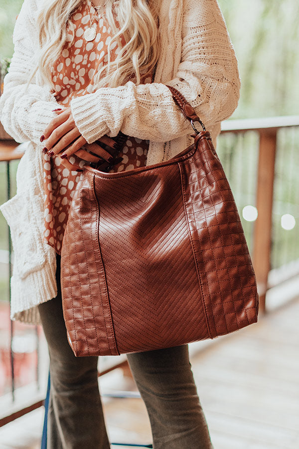 See You Later Faux Leather Tote In Brown