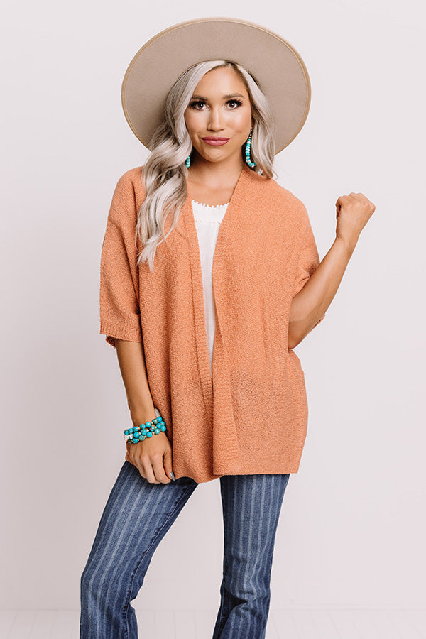 Fall Foliage Knit Cardigan In Light Rust