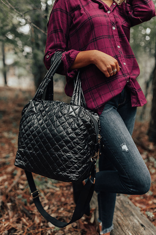 Off The Clock Medium Quilted Tote In Black