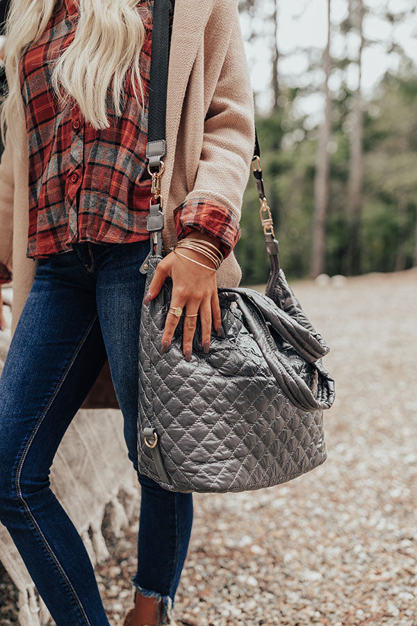 Off The Clock Medium Quilted Tote In Dark Grey