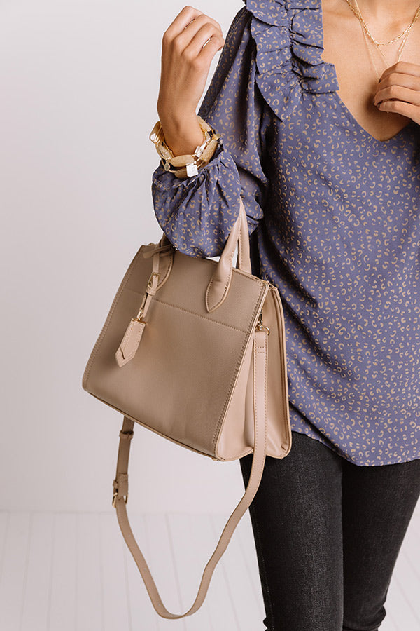 Feeling First Class Faux Leather Tote In Taupe