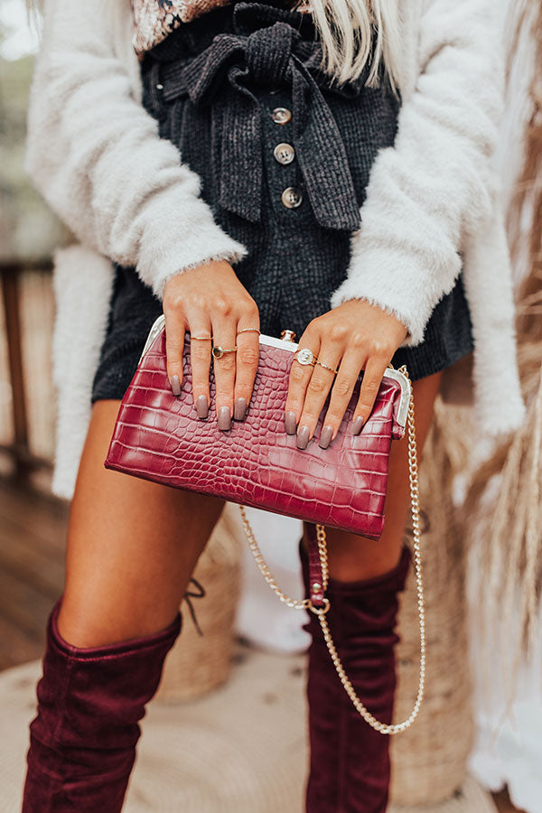 Together Tonight Faux Leather Crossbody In Sangria