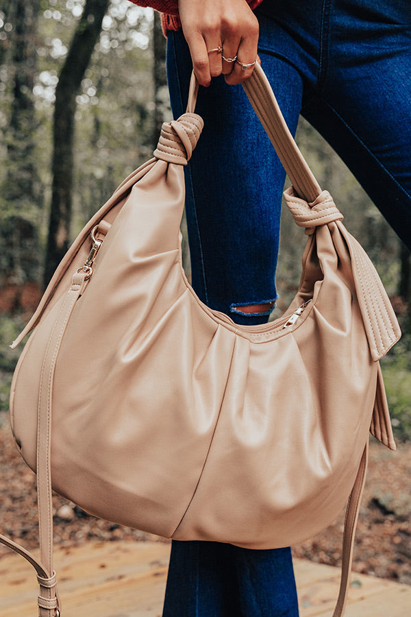 Big Cedar Weekend Faux Leather Tote In Iced Latte