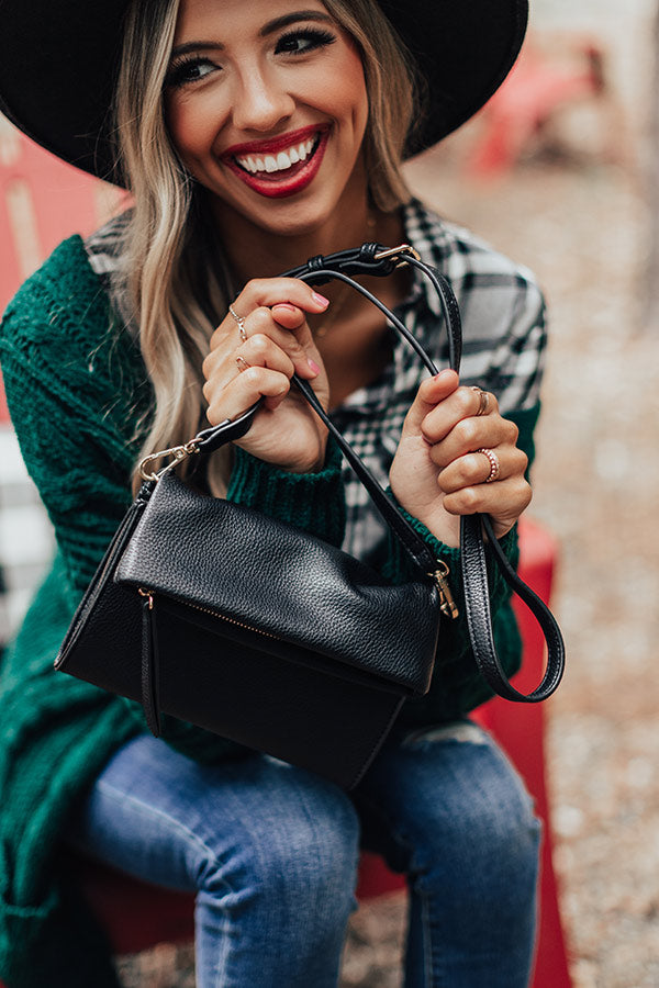 Up For Happy Hour Faux Leather Crossbody In Black