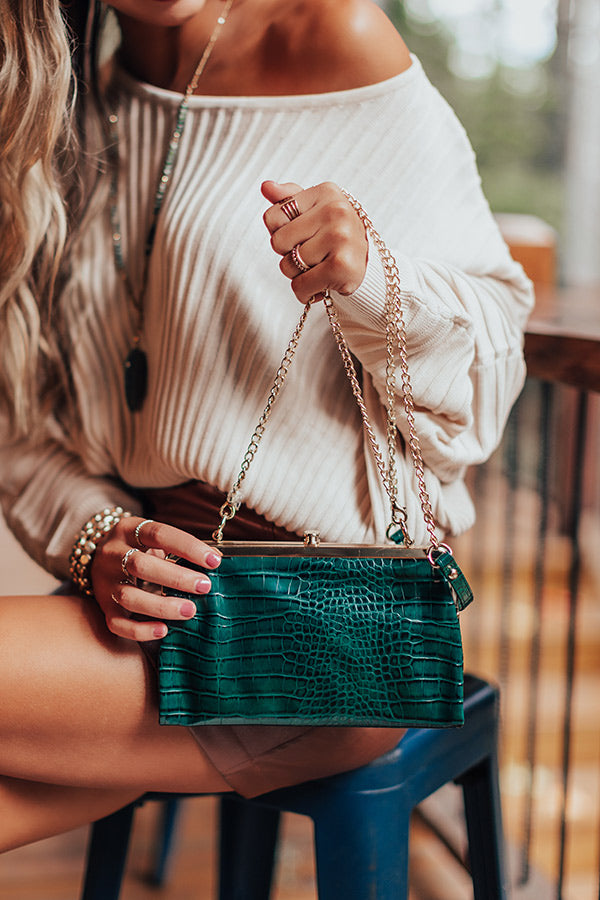 Together Tonight Faux Leather Crossbody In Hunter Green
