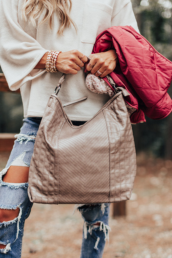 See You Later Faux Leather Tote In Taupe