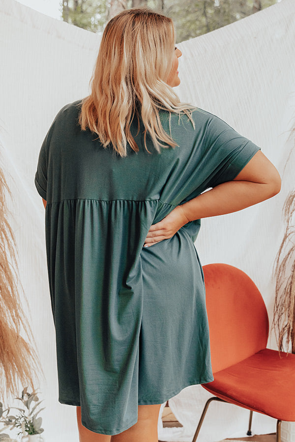 Holding Hands Babydoll Dress In Hunter Green