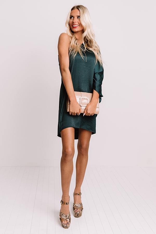 Secret Meeting Shift Dress In Hunter Green