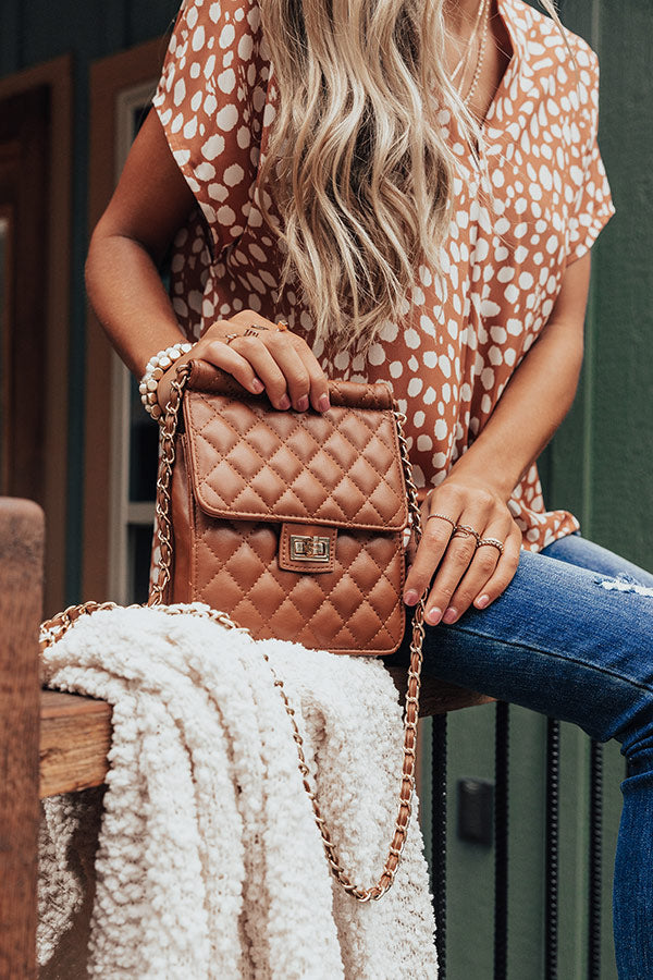 Lovely Night Quilted Crossbody In Cinnamon