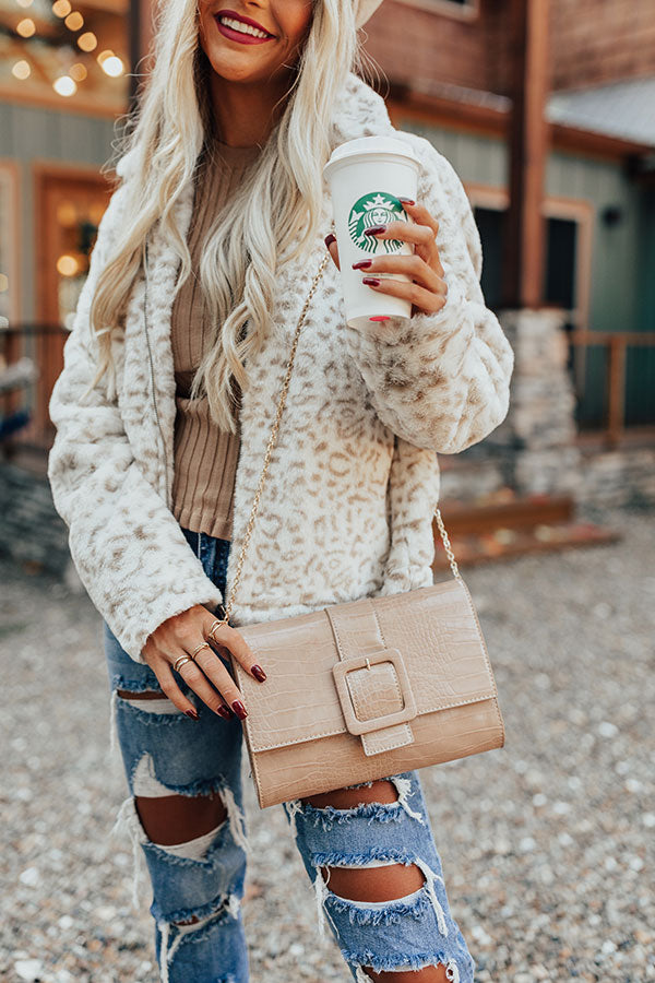 Half Past Noon Faux Leather Crossbody In Iced Latte
