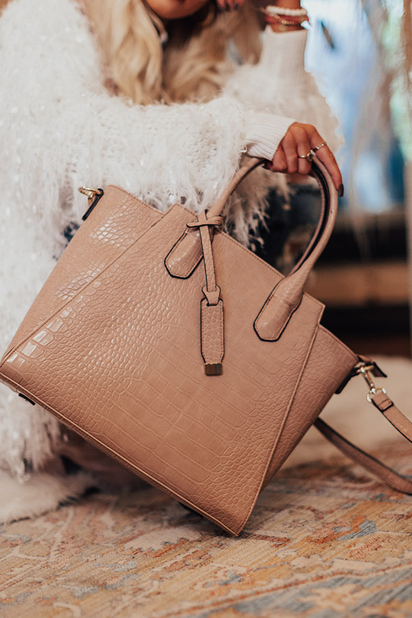 Ready For Date Night Faux Leather Tote In Latte
