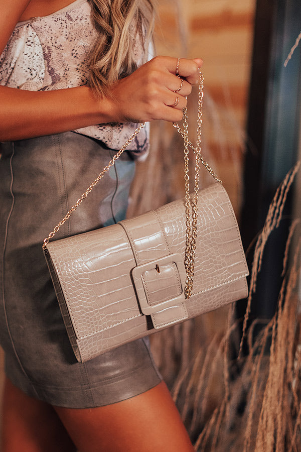 Half Past Noon Faux Leather Crossbody In Taupe