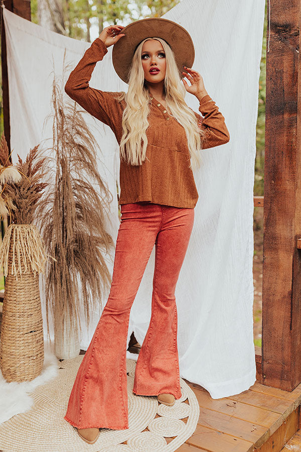 The Blakely High Waist Flares In Aurora Red