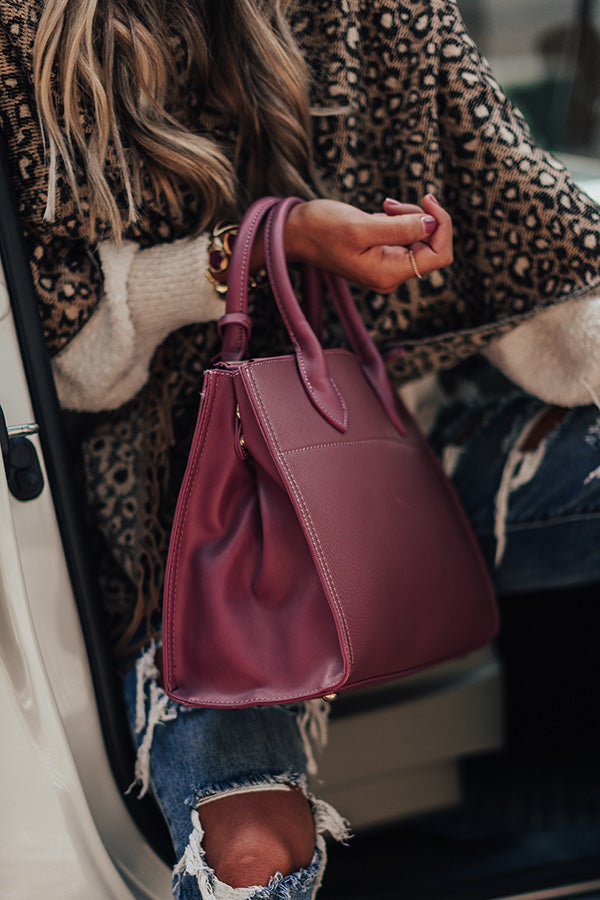 Feeling First Class Faux Leather Tote In Berry
